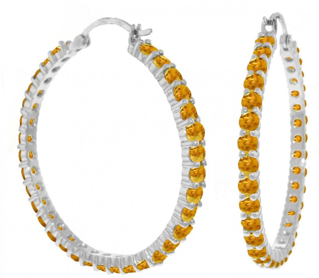 Genuine 6 ctw Citrine Earrings Jewelry 14KT White Gold