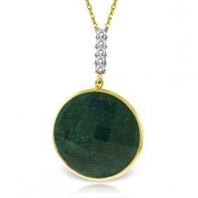 Genuine 23.08 Ctw Green Sapphire Corundum & Diamond