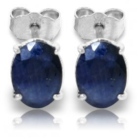 Genuine 2 Ctw Sapphire Earrings Jewelry 14kt White Gold