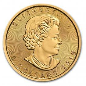 One Pc. Canada 1 Oz .9999 Gold Maple Leaf Brilliant