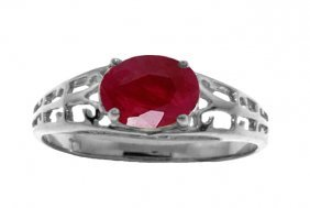 Genuine 1.15 Ctw Ruby Ring Jewelry 14kt White Gold -