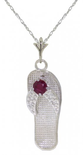Genuine 0.15 Ctw Ruby Necklace Jewelry 14kt White Gold