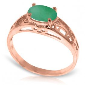 Genuine 1.15 Ctw Emerald Ring Jewelry 14kt Rose Gold -