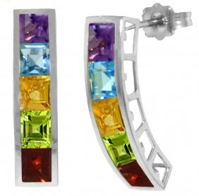 Genuine 4.5 Ctw Multi-gemstones Earrings Jewelry 14kt
