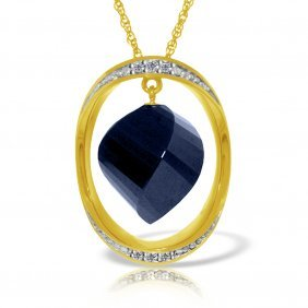Genuine 15.35 Ctw Sapphire & Diamond Necklace Jewelry