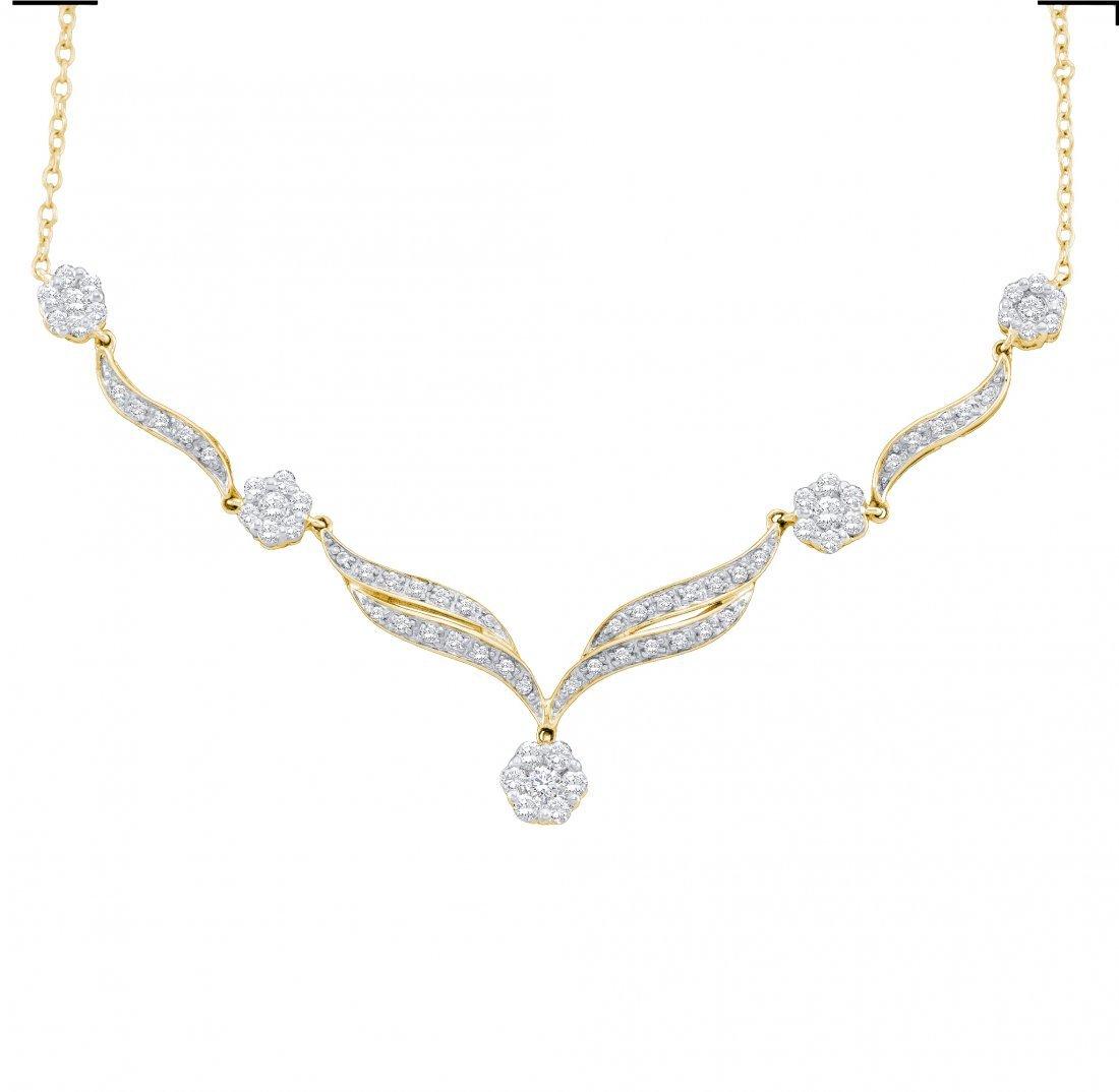 0.75 CTW Diamond Necklace 14KT Yellow Gold -