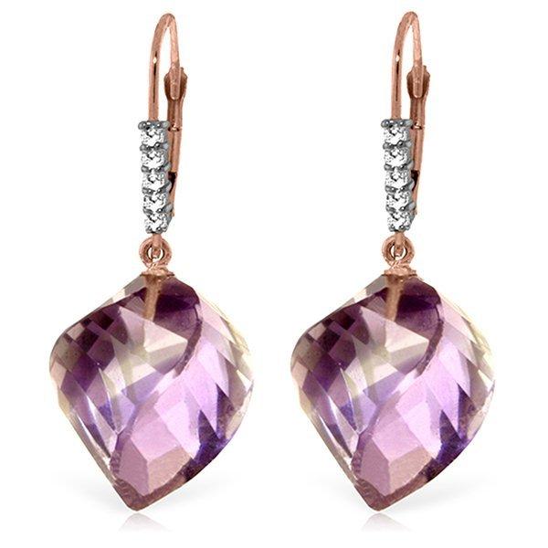 Genuine 21.65 ctw Amethyst & Diamond Earrings Jewelry
