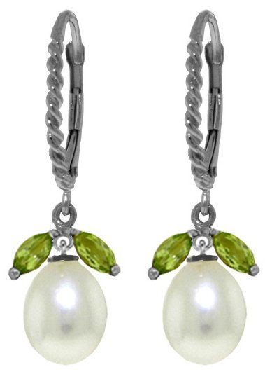 Genuine 9 ctw Peridot & Pearl Earrings Jewelry 14KT
