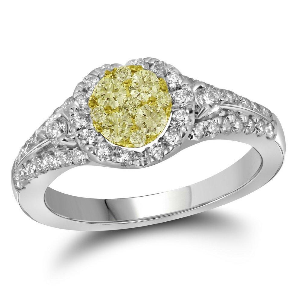 0.75 CTW White & Yellow Diamond Bridal Ring 14KT White