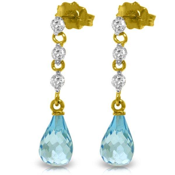 Genuine 3.3 ctw Blue Topaz & Diamond Earrings Jewelry