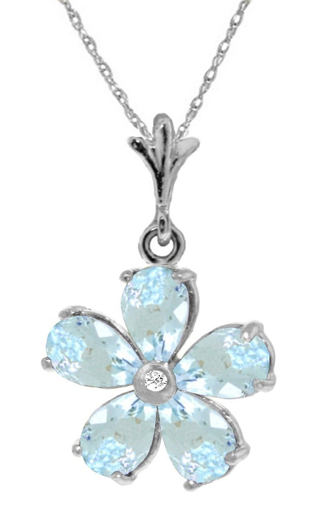Genuine 2.22 ctw Aquamarine & Diamond Necklace Jewelry