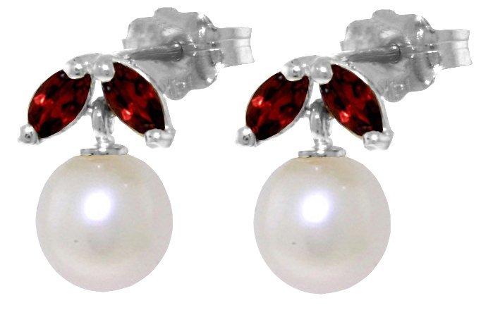 Genuine 4.4 ctw Pearl & Garnet Earrings Jewelry 14KT