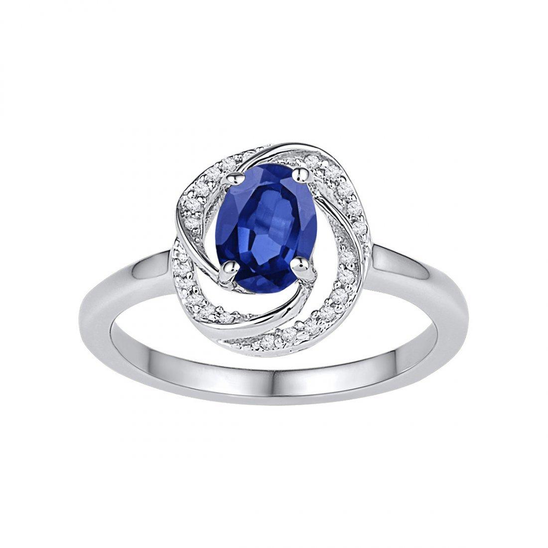 1.29 CTW Sapphire & Diamond Ladies Ring 10KT White Gold