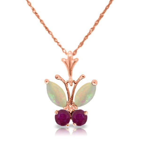 Genuine 0.7 ctw Opal & Ruby Necklace Jewelry 14KT Rose