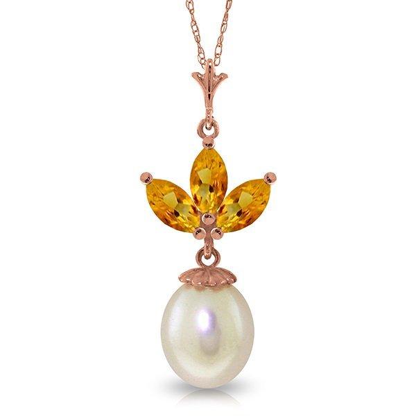 Genuine 4.75 ctw Citrine & Pearl Necklace Jewelry 14KT