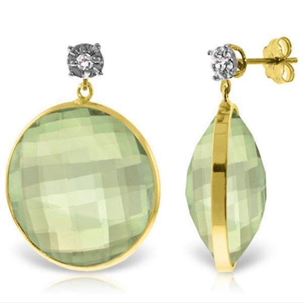 Genuine 36.06 ctw Green Amethyst & Diamond Earrings