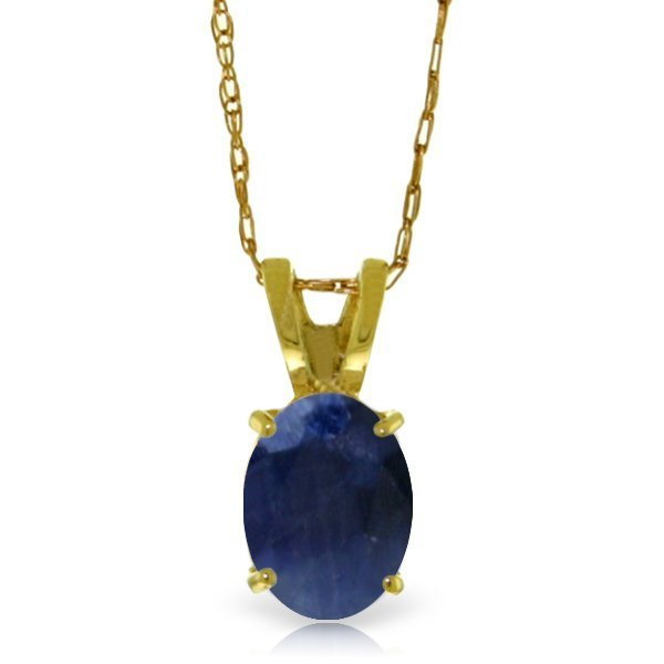 Genuine 1 ctw Sapphire Necklace Jewelry 14KT Yellow