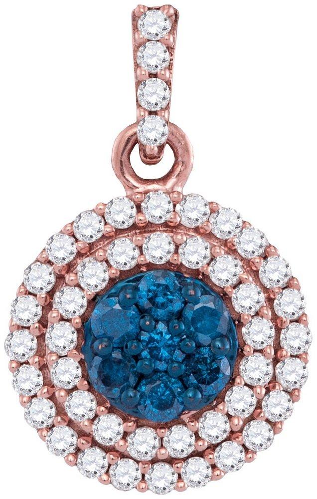 0.5 CTW White & Blue Diamond Pendant 10KT Rose Gold -