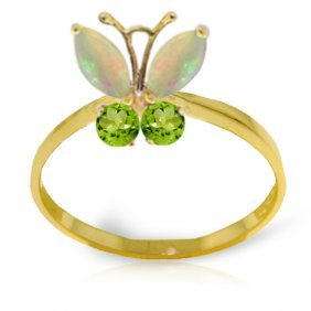 Genuine 0.7 Ctw Opal & Peridot Ring Jewelry 14kt Yellow
