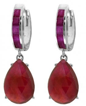 Genuine 11.30 Ctw Ruby Earrings Jewelry 14kt White Gold