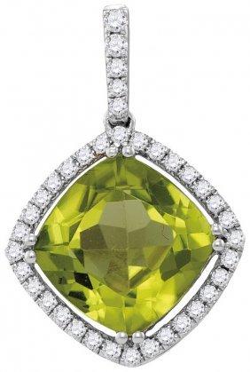 Genuine 2.85 Ctw Peridot & Diamond Pendant 14kt White