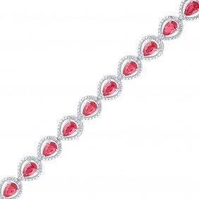 6.05 Ctw Ruby & Diamond Bracelet White Rhodium Silver -