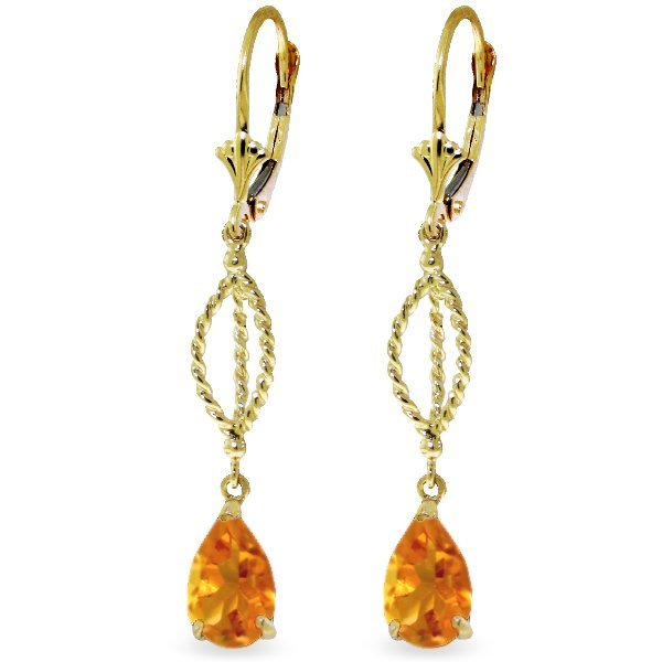 Genuine 3 ctw Citrine Earrings Jewelry 14KT Yellow Gold