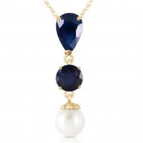 Genuine 5.05 Ctw Sapphire & Pearl Necklace Jewelry 14kt