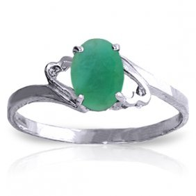 Genuine 0.75 Ctw Emerald Ring Jewelry 14kt White Gold -