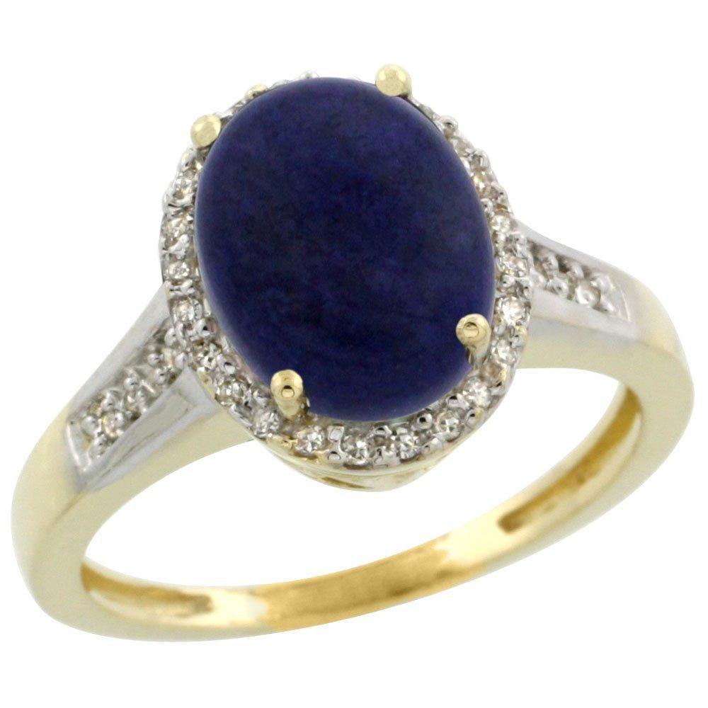 Natural 2.49 ctw Lapis & Diamond Engagement Ring 10K