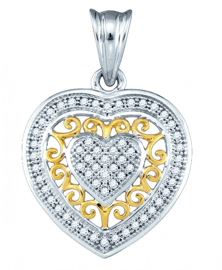 0.15 CTW Diamond Pendant 10KT Two-tone Gold -