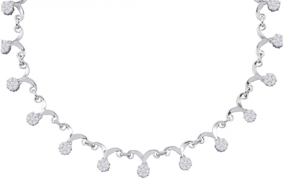2 CTW Diamond Necklace 14KT White Gold -