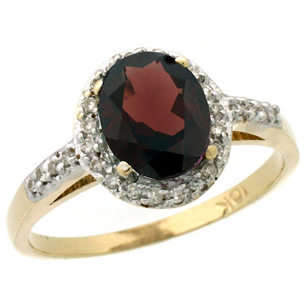 Natural 1.3 ctw Garnet & Diamond Engagement Ring 10K