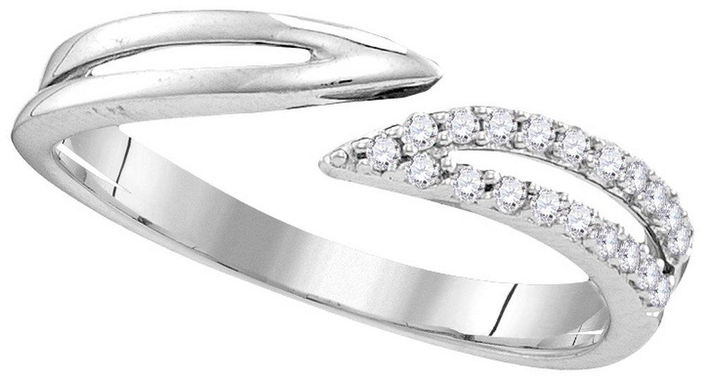 0.15 CTW Diamond Ladies Ring White Rhodium Silver -