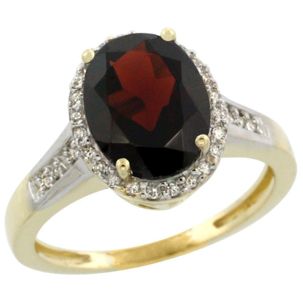 Natural 2.49 ctw Garnet & Diamond Engagement Ring 14K