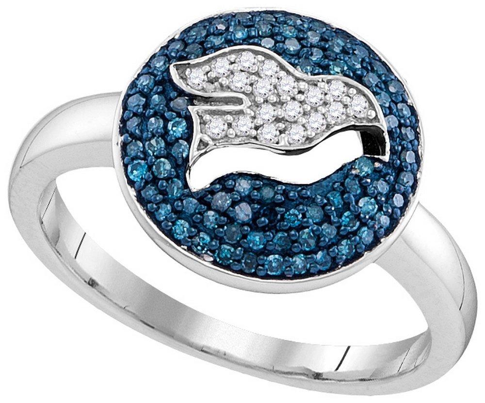 0.33 CTW White & Blue Diamond Ladies Ring 10KT White