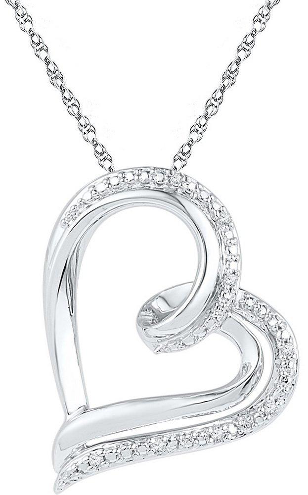 0.03 CTW Diamond Pendant White Rhodium Silver -