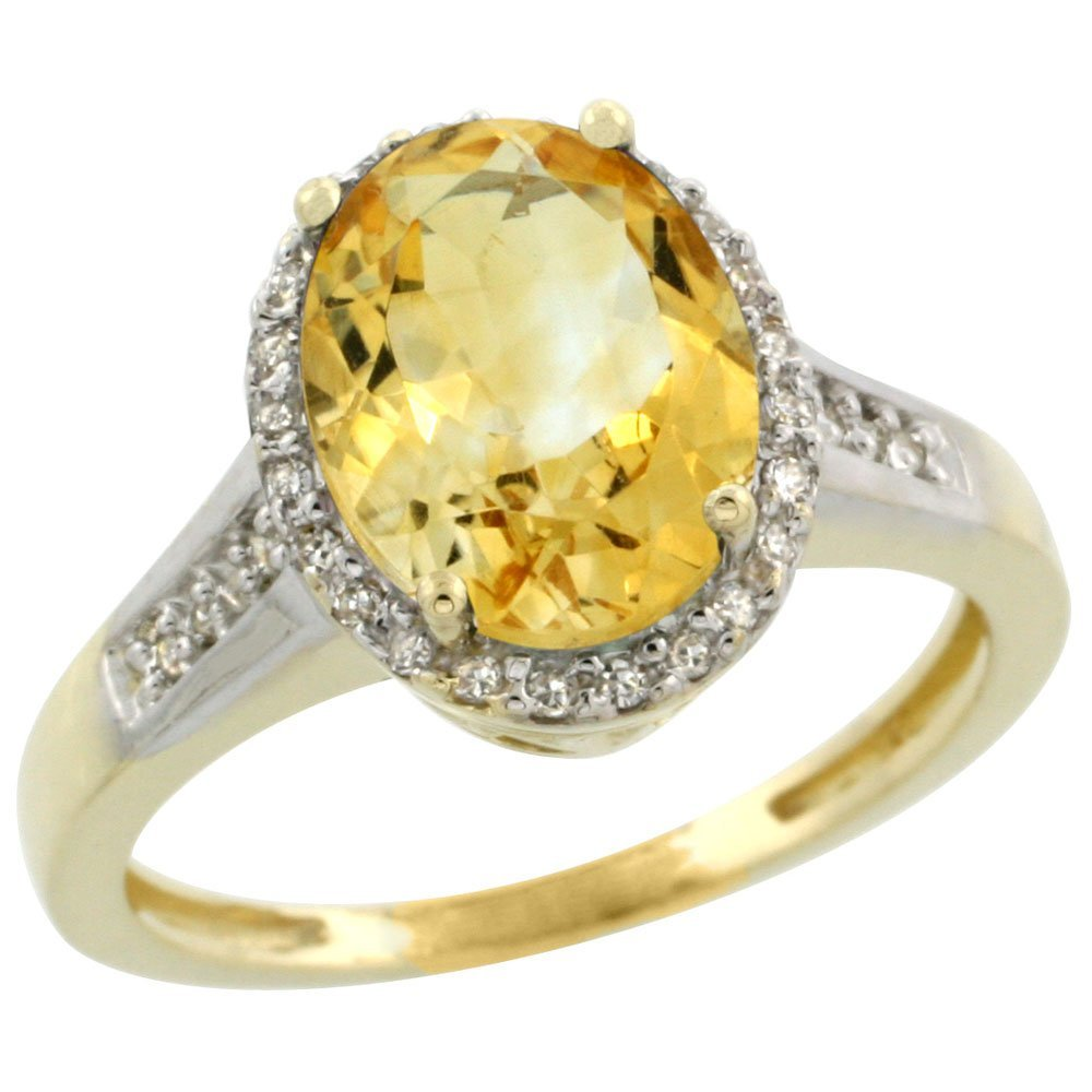 Natural 2.49 ctw Citrine & Diamond Engagement Ring 10K