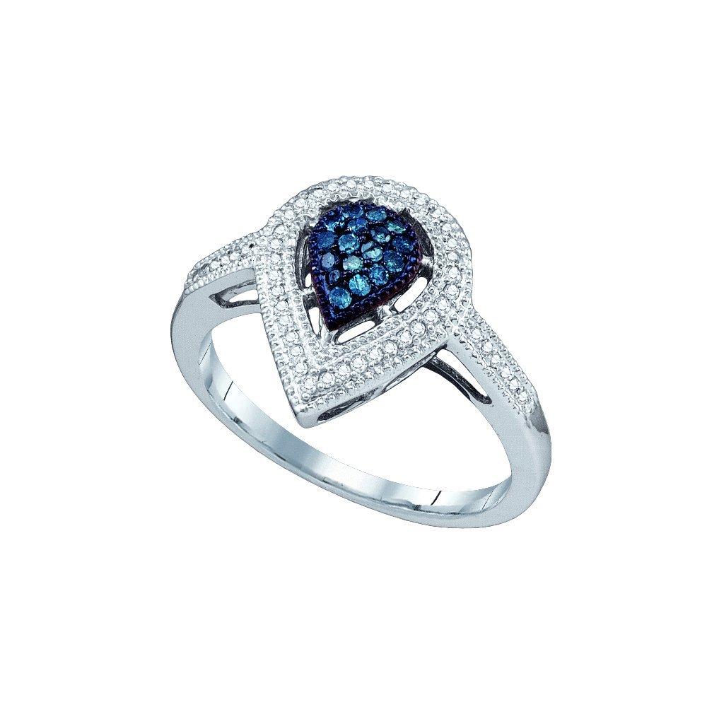 0.25 CTW White & Blue Diamond Ladies Ring 10KT White