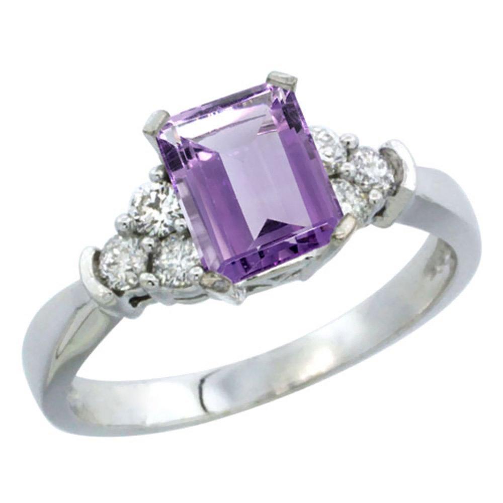 Natural 1.48 ctw amethyst & Diamond Engagement Ring 14K