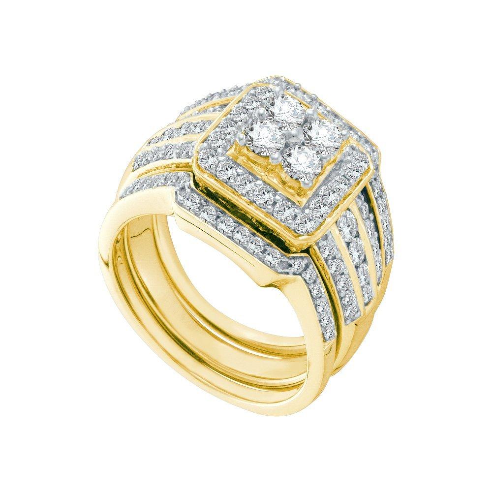1.51 CTW Diamond Bridal Set Ring 14KT Yellow Gold -