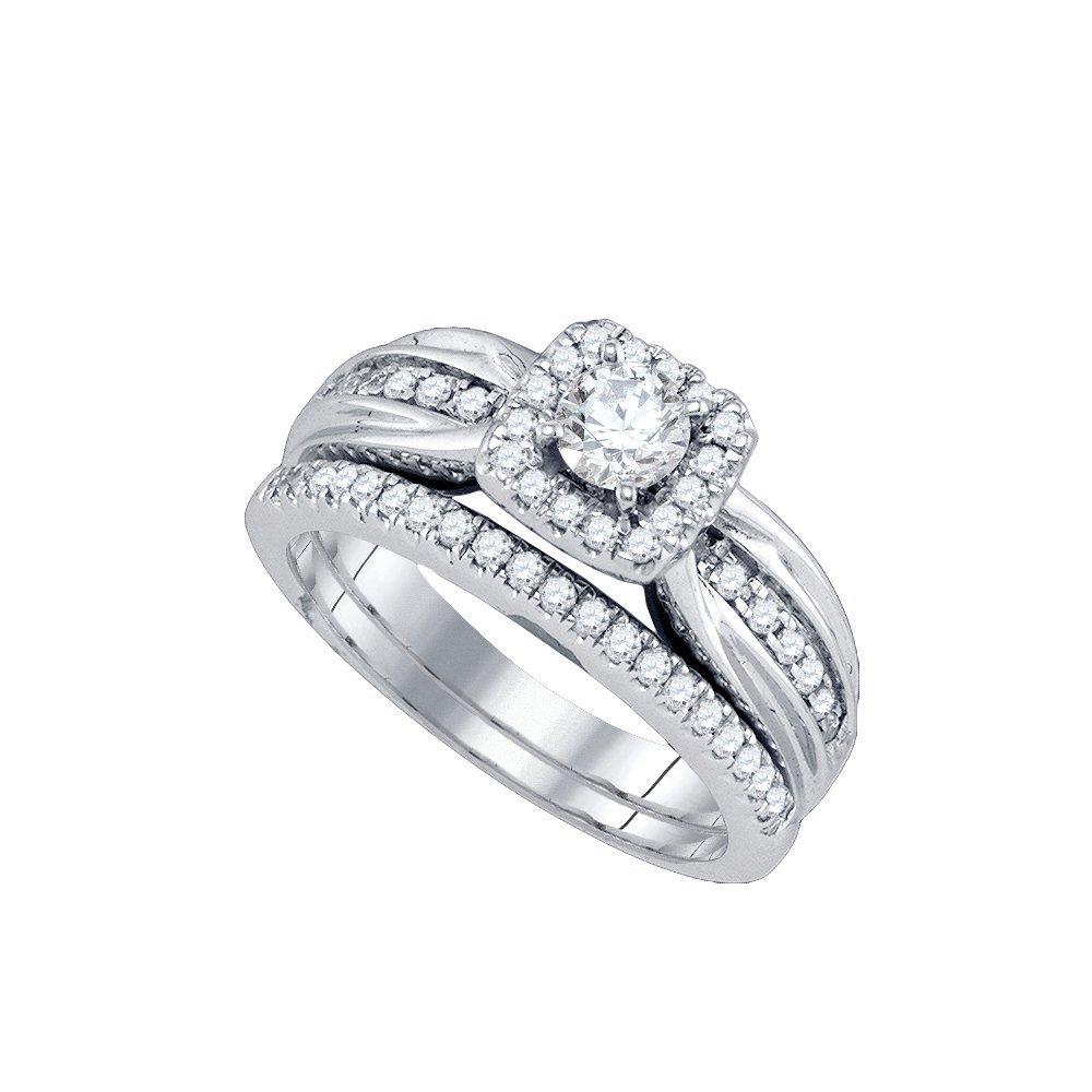 Natural 0.75 ctw Diamond Bridal Set Ring 14K White Gold