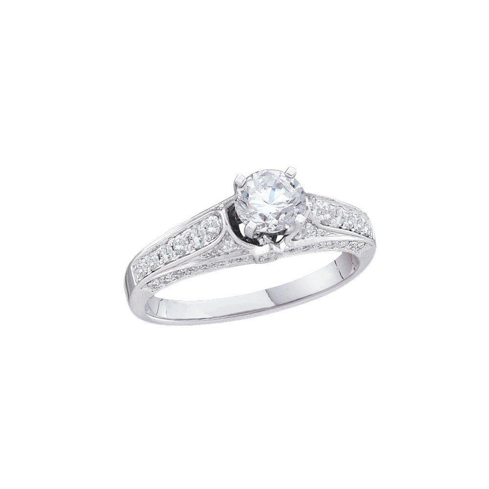 Natural 1.0 ctw Diamond Bridal Ring 14K White Gold -