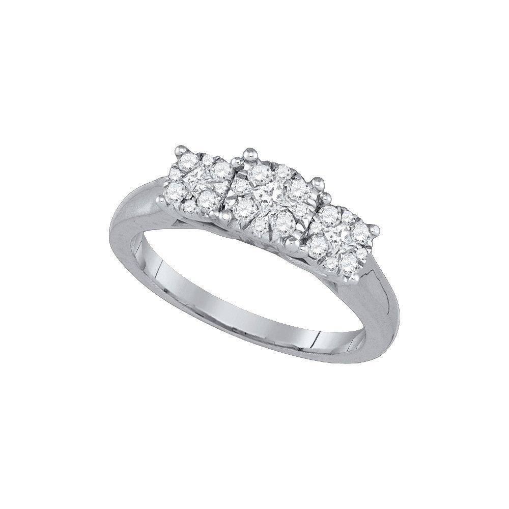 Natural 0.50 ctw Diamond Bridal Ring 14K White Gold -