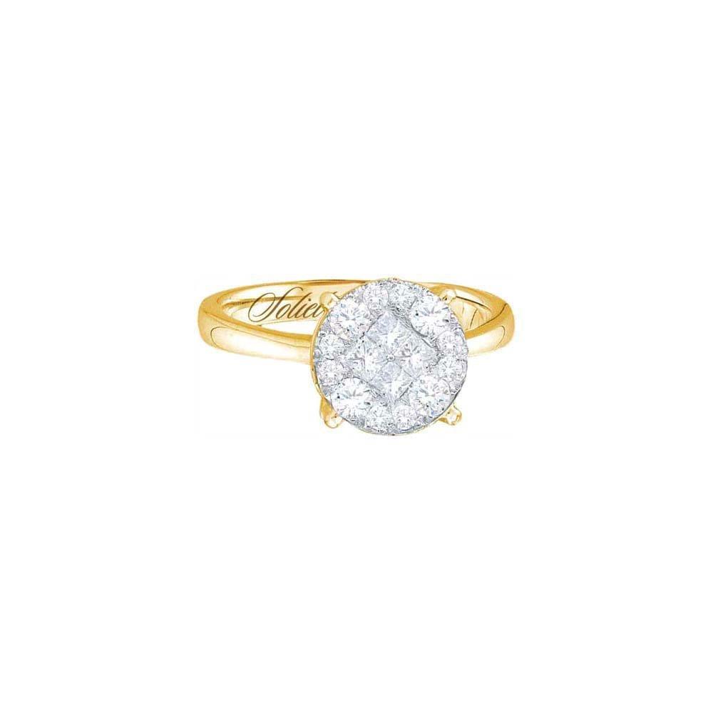 Genuine 2.0 CTW Diamond Soliel Bridal Ring 14KT Yellow