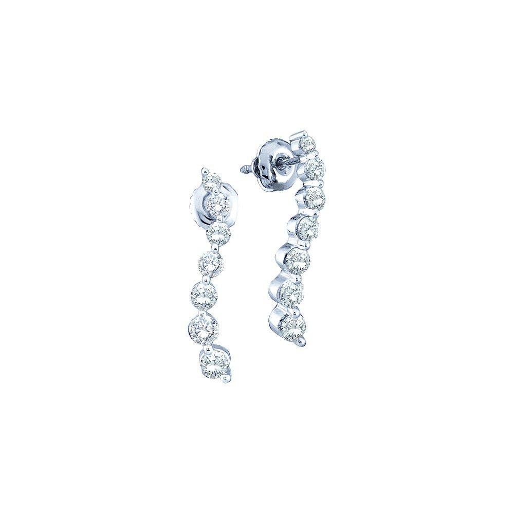 Genuine 0.50 CTW Diamond Earrings 14KT White Gold -