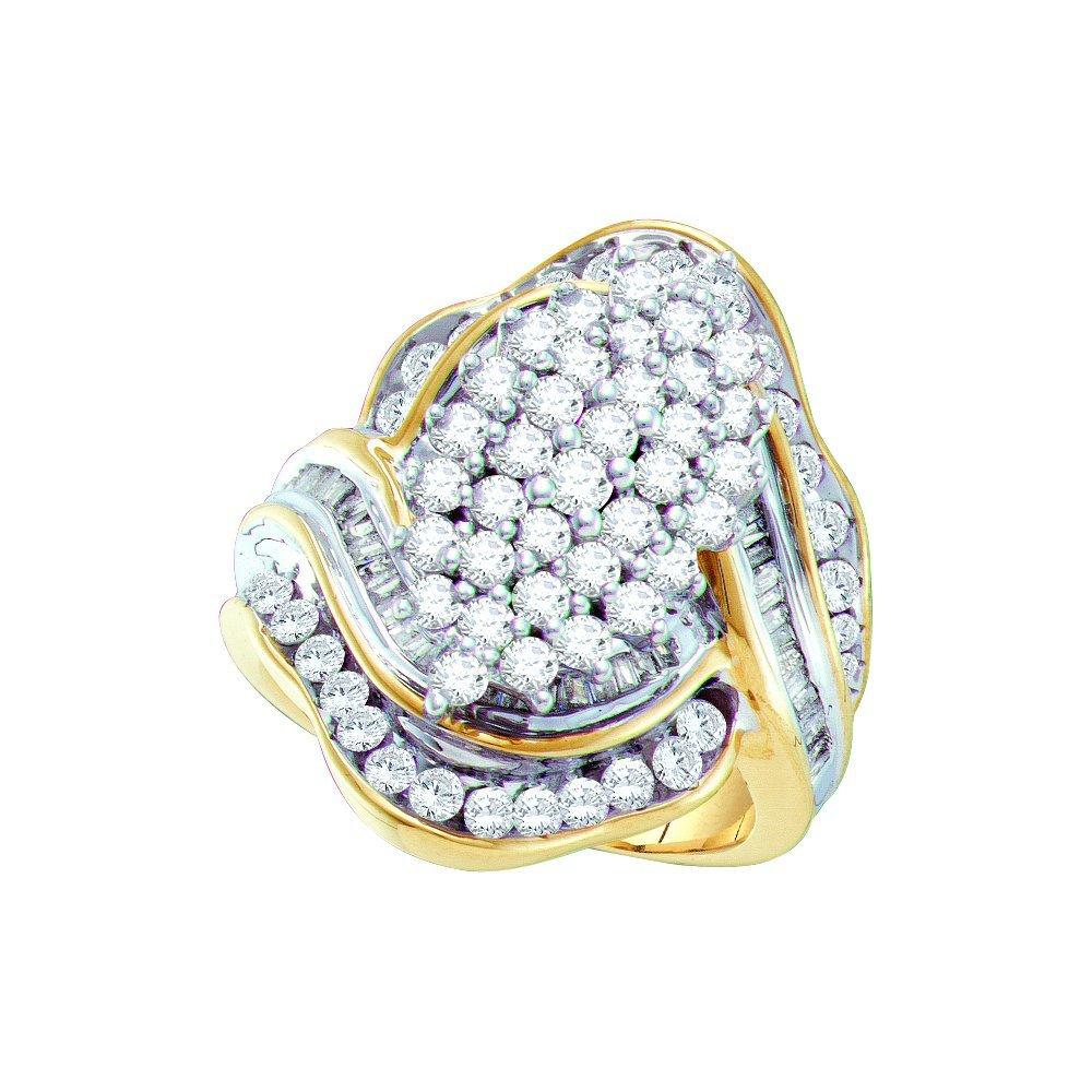 Genuine 2.0 CTW Diamond Ladies Ring 10KT Two-tone Gold