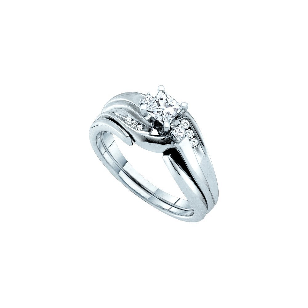 Natural 0.50 ctw Diamond Bridal Set Ring 14K White Gold