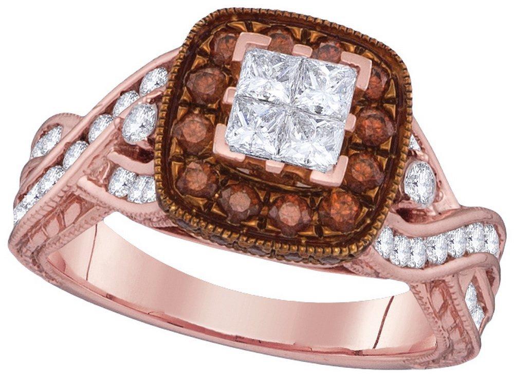 Genuine 1.38 CTW White & Cognac Diamond Ladies Ring