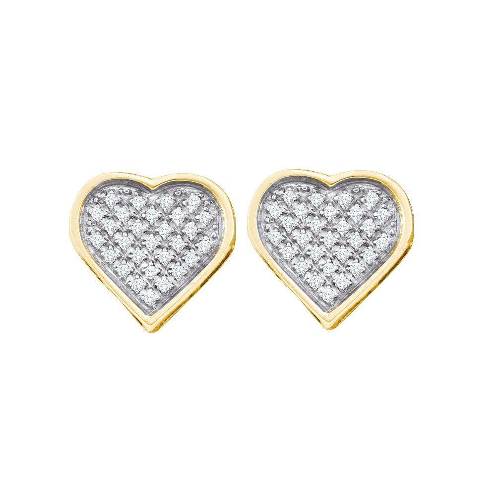 Genuine 0.15 CTW Diamond Earrings Yellow Rhodium Silver
